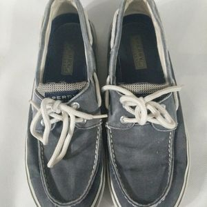 Sperry Top Sider Shoes - Canvas - Blue Grey - Lace